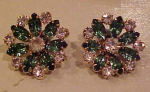 Green and clear rhinestone flower earrings