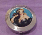 Click here to enlarge image and see more about item f4233: Elvgren pin up girl pill box