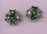 Green and light green rhinestone earrings