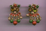 Leru earrings with rhinestone and dangling beads