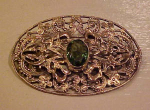 Art Nouveau sash pin w/peridot glass