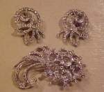 Reja Rhinestone Brooch and Earrings