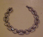 Pot metal and rhinestone art deco bracelet