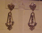 Sterling art deco earrings w/rhinestones