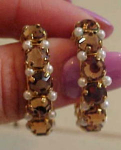 Click to view larger image of Topaz rhinestone & pearl hoop earrings (Image1)