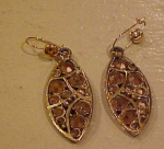 Hollycraft gold rhinestone dangling earrings