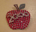 Bettina Von Walhof Rhinestone apple pin