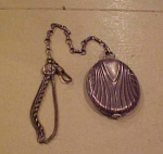 Sterling silver art nouveau watch fob locket