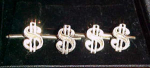 Sterling silver dollar sign studs