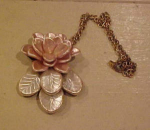 Plastic pink flower necklace