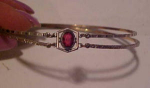 1920's art deco gold filled bangle w/glass