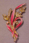 Pink enameled flower pin with rhinestones