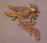Bird pin with multicolored rhinestones