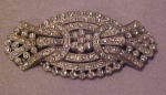 Art deco pot metal and rhinestone pin
