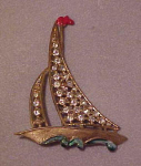 1940's enameled sailboat with rhinestones