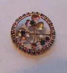 Clover pin with rhinestones