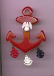 Bakelite and plastic anchor pin with dangles