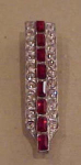 Art deco red and clear dress clip