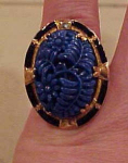 Czechoslovakian ring w/molded glass enameling