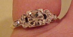 Sterling vermail ring with rhinestones