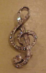 Rhinestone musical note pin