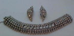 Large rhinestone bracelet and earrings