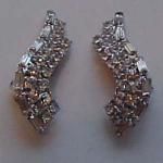 S shaped rhinestone earrings