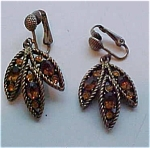 Hollycraft topaz rhinestone earrings