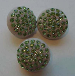 3 buttons with green rhinestones