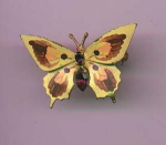Czechoslovakian handpainted butterfly pin with rhinestones