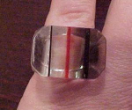 Striped lucite ring with green and red