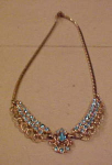 Coro goldtone necklace w/lt blue rhinestones