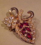 Leaf design red and clear rhinestone pin