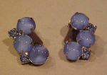 Blue cabochon & Rhinestone earrings