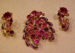 Click here to enlarge image and see more about item f5506: Red/Pink/AB Rhinestone pin/earring set austri
