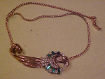 Retro style vermeil necklace w/rhinestones