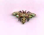 Click here to enlarge image and see more about item f571: Enamel and rhinestone bug pin
