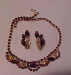 Click here to enlarge image and see more about item f6011: purple rhinestone necklace & Earrings