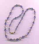 Light blue and crystal bead necklace
