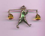 Sterling vermeil retro asian man carrying