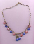 Czechoslovakian pink and blue glass bead necklace