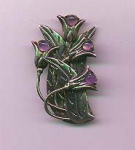 Click here to enlarge image and see more about item f659: Sterling silver pin with amethyst glass bead accents
