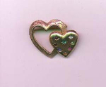 Emmons double heart pin with rhinestones