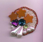 Collage rhinestone and faux pearl pin
