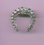Mazer sterling rhinestone pin with horseshoe