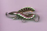 Boucher retro style pin with rhinestones