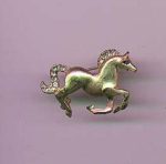 Goldtone horse pin with rhinestones