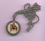 Click here to enlarge image and see more about item f769: Pinup medallian necklace