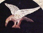 lucite and wood bird pin