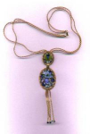 Click to view larger image of Rhinestone necklace with blue rhinestone and flower design (Image1)